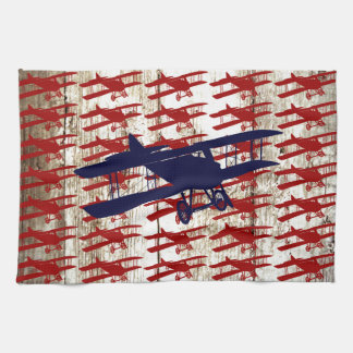 Vintage Biplane on Barn Wood Aviation Gifts Kitchen Towels