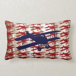 Vintage Biplane on Barn Wood Aviation Gifts Lumbar Pillow