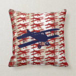 Vintage Biplane on Barn Wood Aviation Gifts Pillows