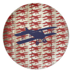 Vintage Biplane on Barn Wood Aviation Gifts Dinner Plate