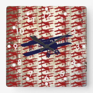 Vintage Biplane on Barn Wood Aviation Gifts Square Wall Clock