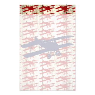 Vintage Biplane on Barn Wood Aviation Gifts Personalized Stationery