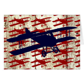 Vintage Biplane on Barn Wood Aviation Gifts Stationery Note Card