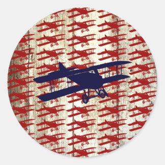 Vintage Biplane on Barn Wood Aviation Gifts Sticker