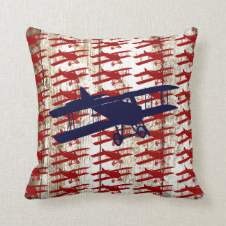 Vintage Biplane on Barn Wood Aviation Gifts Throw Pillow