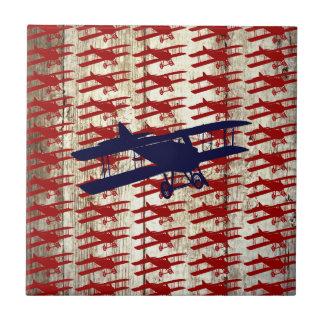 Vintage Biplane on Barn Wood Aviation Gifts Ceramic Tiles