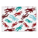 Vintage Biplane Pattern Airplane Aviator Gifts Card