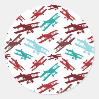 Vintage Biplane Pattern Airplane Aviator Gifts Classic Round Sticker