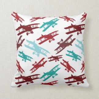 Vintage Biplane Pattern Airplane Aviator Gifts Throw Pillow