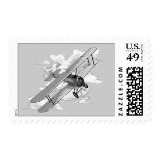 Vintage Biplane Postage Stamp