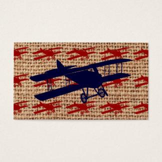 Vintage Biplane Propeller Airplane on Burlap Print Business Card
