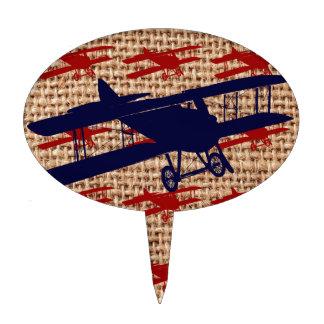Vintage Biplane Propeller Airplane on Burlap Print Cake Topper