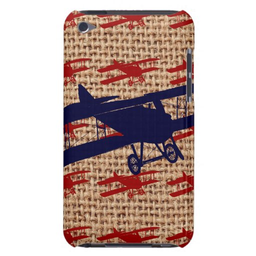 Vintage Biplane Propeller Airplane on Burlap Print iPod Touch Case-Mate Case