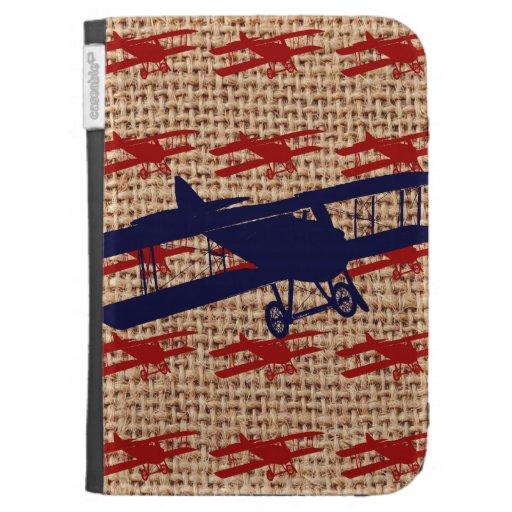 Vintage Biplane Propeller Airplane on Burlap Print Kindle 3G Cases