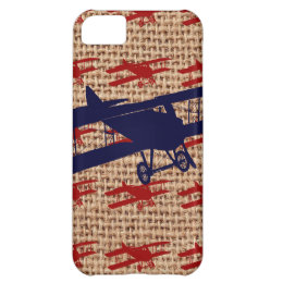 Vintage Biplane Propeller Airplane on Burlap Print Cover For iPhone 5C