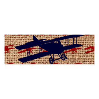 Vintage Biplane Propeller Airplane on Burlap Print Double-Sided Mini Business Cards (Pack Of 20)