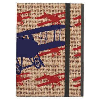 Vintage Biplane Propeller Airplane on Burlap Print iPad Air Cover