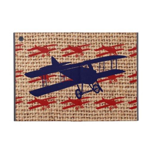 Vintage Biplane Propeller Airplane on Burlap Print Covers For iPad Mini