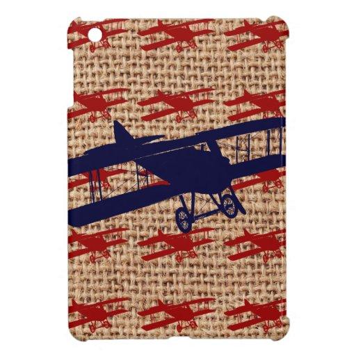 Vintage Biplane Propeller Airplane on Burlap Print iPad Mini Covers