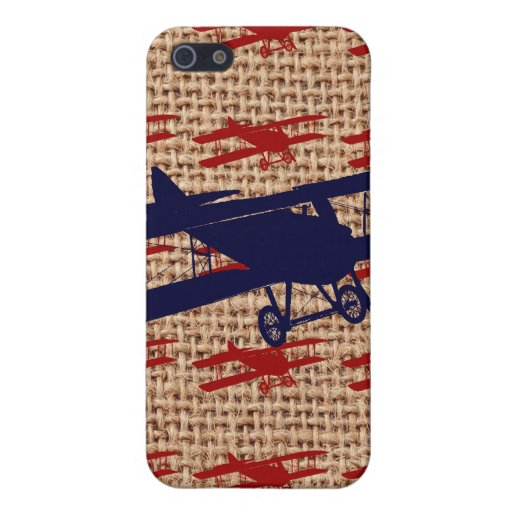 Vintage Biplane Propeller Airplane on Burlap Print Cases For iPhone 5