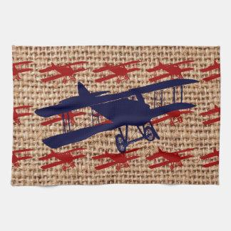 Vintage Biplane Propeller Airplane on Burlap Print Kitchen Towel