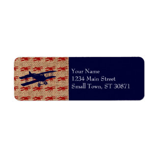Vintage Biplane Propeller Airplane on Burlap Print Label