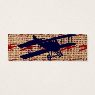 Vintage Biplane Propeller Airplane on Burlap Print Mini Business Card