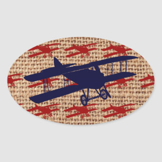 Vintage Biplane Propeller Airplane on Burlap Print Oval Sticker