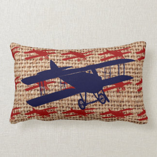 Vintage Biplane Propeller Airplane on Burlap Print Pillows