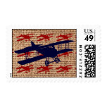 Vintage Biplane Propeller Airplane on Burlap Print Postage Stamps