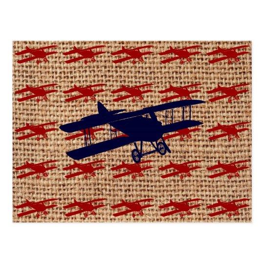 Vintage Biplane Propeller Airplane on Burlap Print Postcard