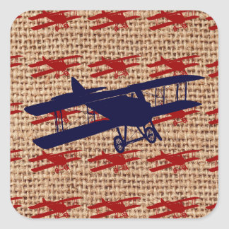 Vintage Biplane Propeller Airplane on Burlap Print Square Sticker