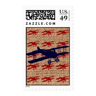 Vintage Biplane Propeller Airplane on Burlap Print Stamps