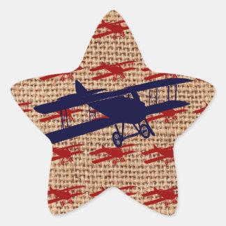 Vintage Biplane Propeller Airplane on Burlap Print Star Sticker