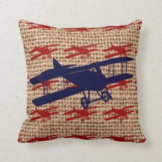 Vintage Biplane Propeller Airplane on Burlap Print Throw Pillows
