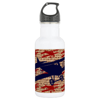 Vintage Biplane Propeller Airplane on Burlap Print Water Bottle