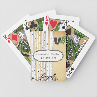 Vintage Birch Love Birds Wedding Gift Playing Card Bicycle Playing Cards