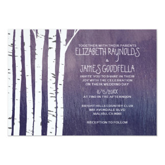 Vintage Birch Tree Wedding Invitations Announcement