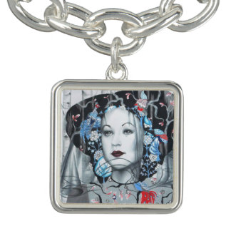 Vintage Birch Trees Peacock Art Charm Bracelet