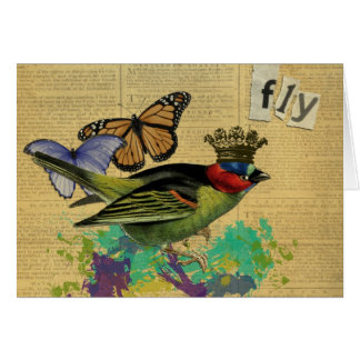 Vintage Bird Altered Art Collage Notecards Card