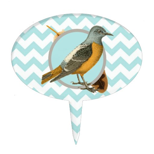 Vintage Bird and Feather Cake Pick