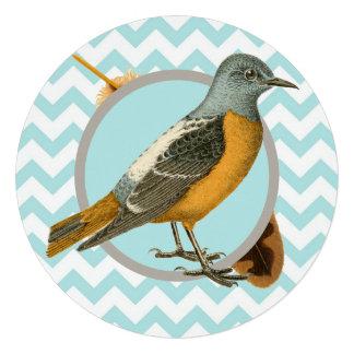 Vintage Bird and Feather Tea Party Custom Invitations
