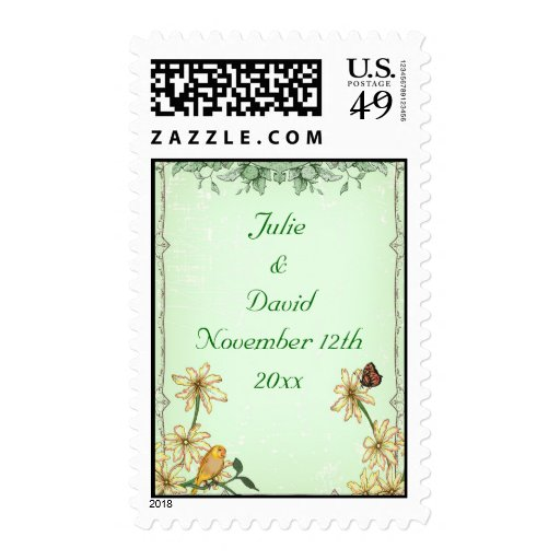 Vintage Bird and Flower Wedding Save The Date Stamp