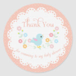 Vintage Bird and Flowers Baby Shower Thank You Classic Round Sticker