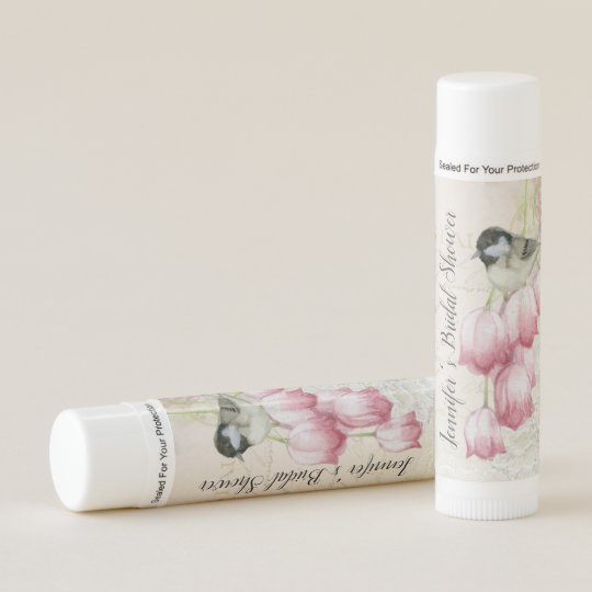 vintage bird and flowers bridal shower lip balm