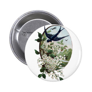 Vintage bird and flowers button