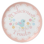 Vintage Bird and Flowers Delicious Treats Plates