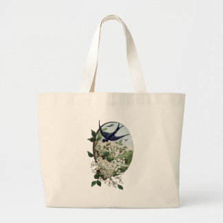 Vintage bird and flowers large tote bag