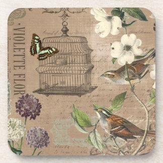 Vintage bird and garden coaster