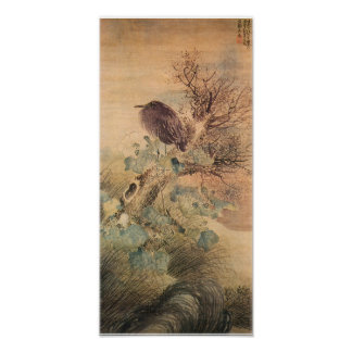 Vintage Bird and Hibiscus Japanese Poster